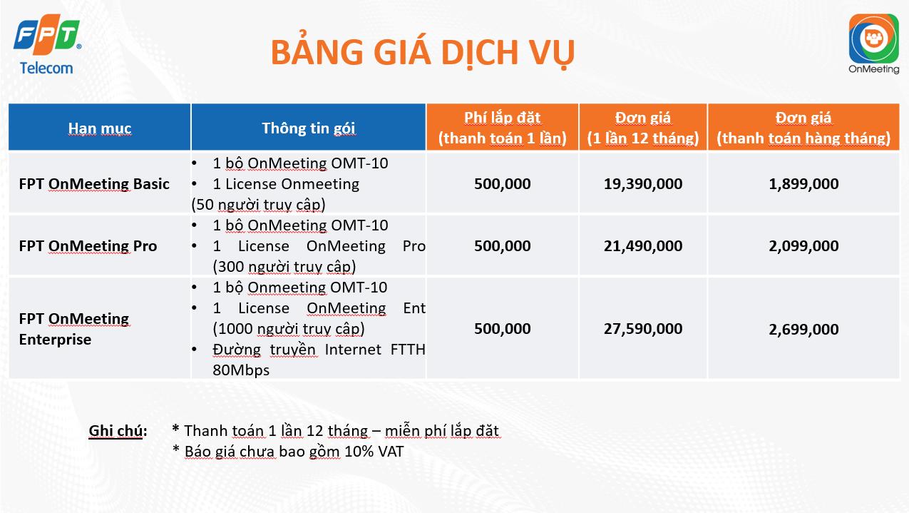 Bảng giá dịch vụ và thiết bị